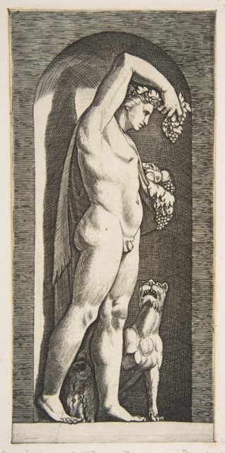 Bacchus standing in a niche holding grapes in his raised right hand, fruit in his left hand, a dog lower right