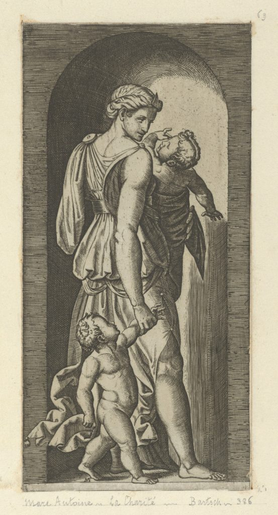 Charity personified by a woman with two childen, from 'The Virtues'