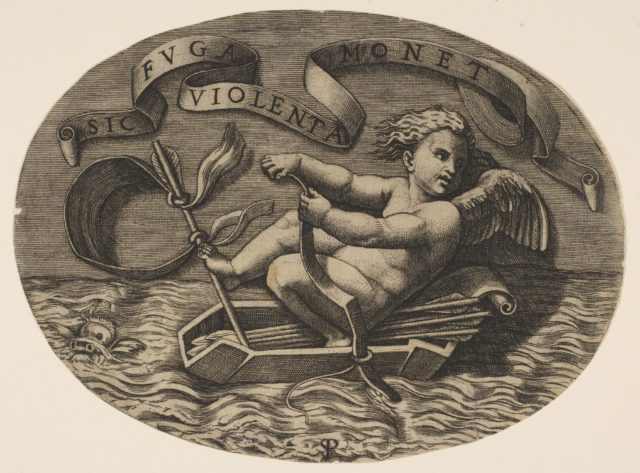 Eros escaping by sea using his bow to propel a boat made from his quiver with an arrow as the mast and his blindfold as the sail, a banderole above