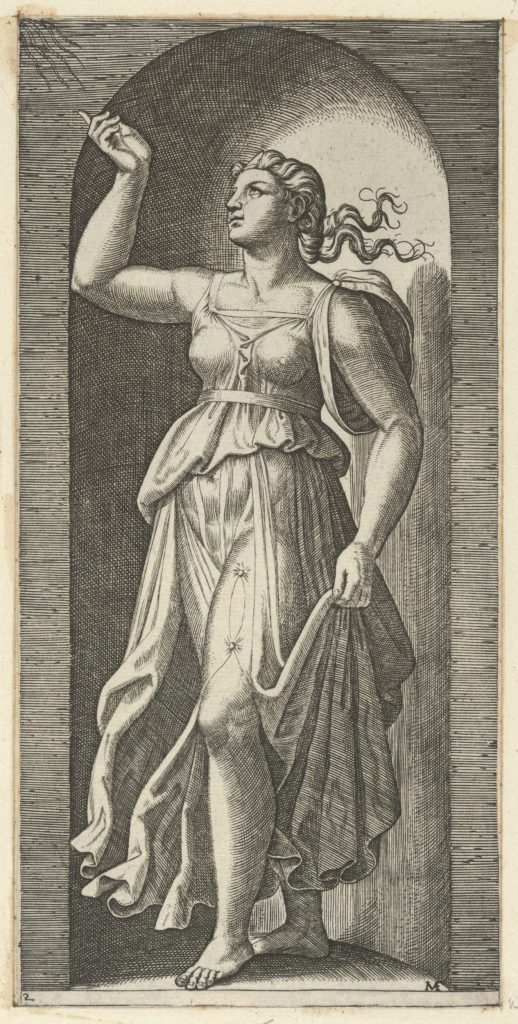 Faith personified by a woman standing in a niche, pointing to rays in the upper left, from 'The Virtues'