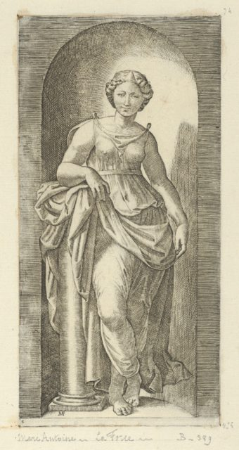 Fortitude or Strength personified by a woman standing in a nice resting her arm on a column, from 'The Virtues'
