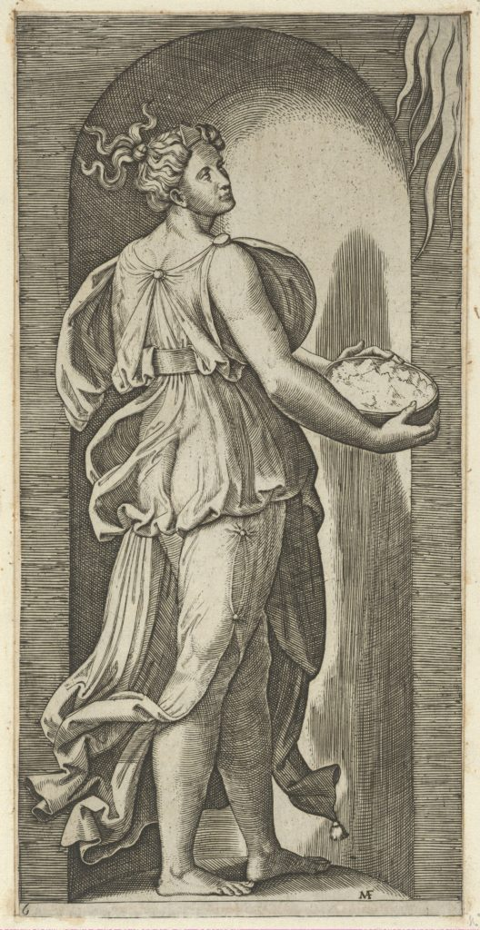 Hope personified as a woman standing in a niche facing right, holding a container of unleavened bread in both hands, from 'The Virtues'
