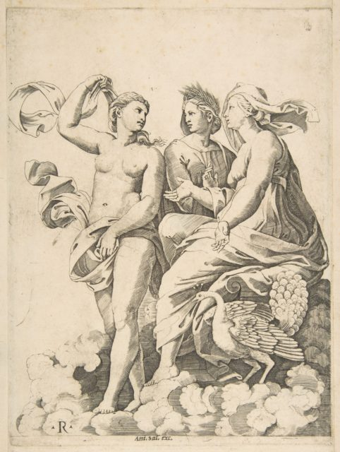 Juno, Ceres, and Psyche in the clouds conversing, Juno seated with a peacock at her feet, Ceres wearing a garland of wheat and Psyche partially naked and holding a cloth