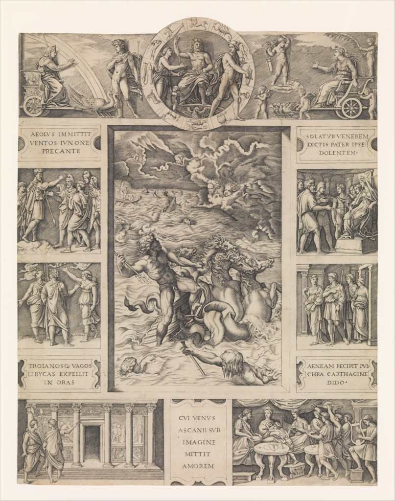 Neptune calming the tempest which Aeolus raised against Aeneas' fleet from Book I of the Aeneid