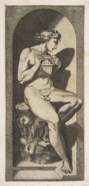 Olympus naked seated on a tree stump holding pipes, set within a niche