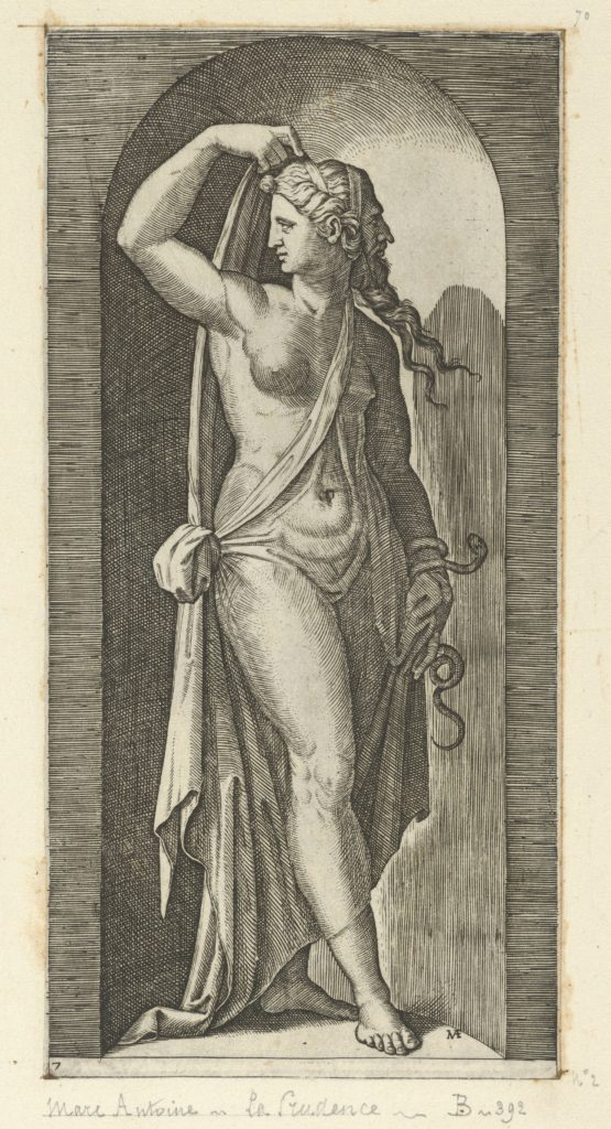 Prudence personified by a woman standing in a niche, holding a shawl in her right hand, a snake coiled around her, left from 'The Virtues'