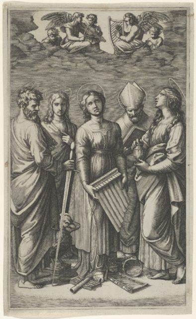 St Cecilia holding an organ, flanked by St Paul, St John the Evangelist, St Augustine and Mary Magdalen, musical angels above