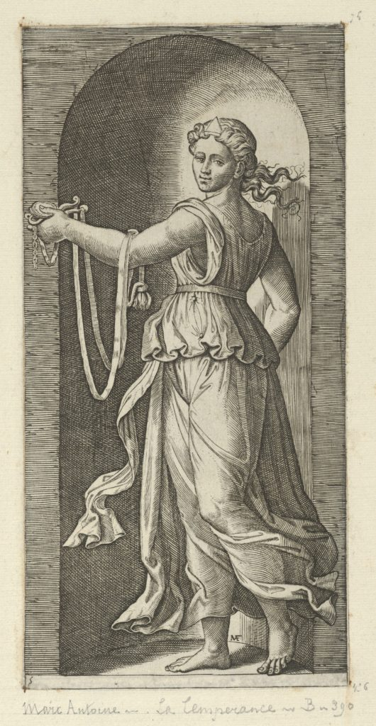 Temperance personfied by a woman standing in a niche holding a bit, from 'The Virtues'