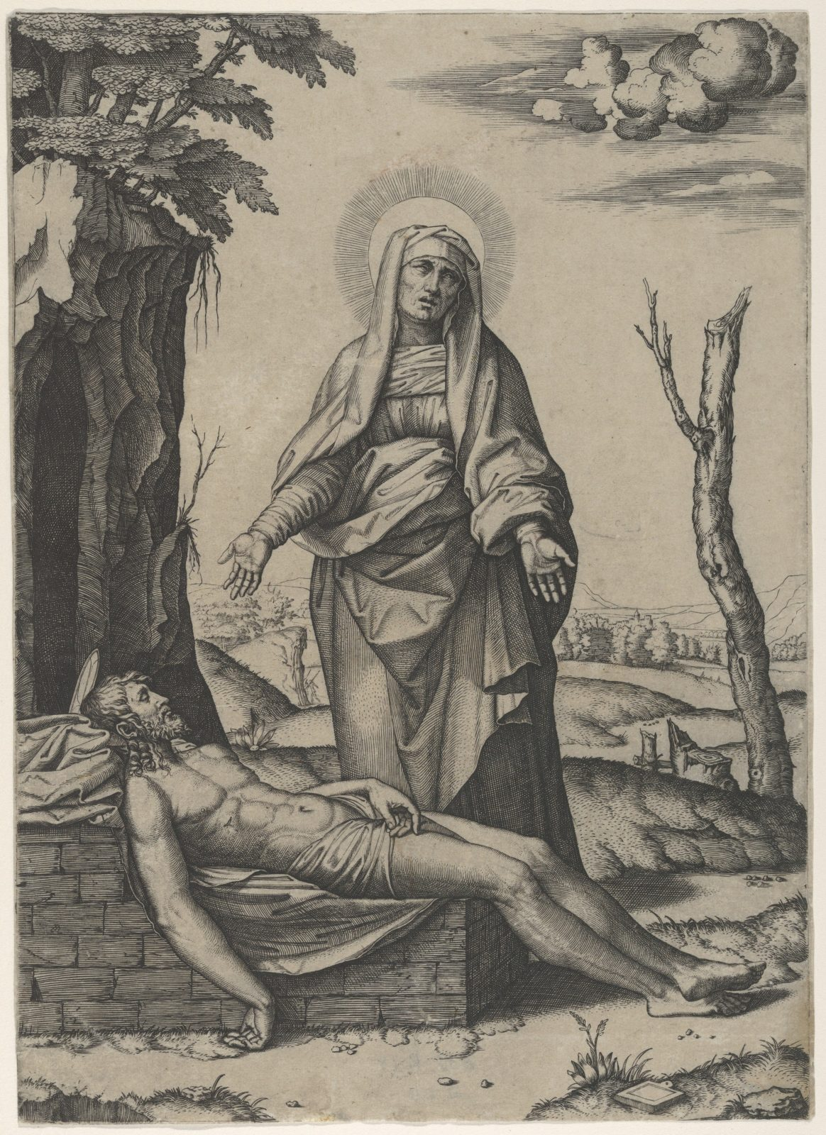 The Pietà: the Virgin standing over the dead Christ, her hands outspread