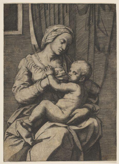 Virgin nursing the infant Christ on her lap