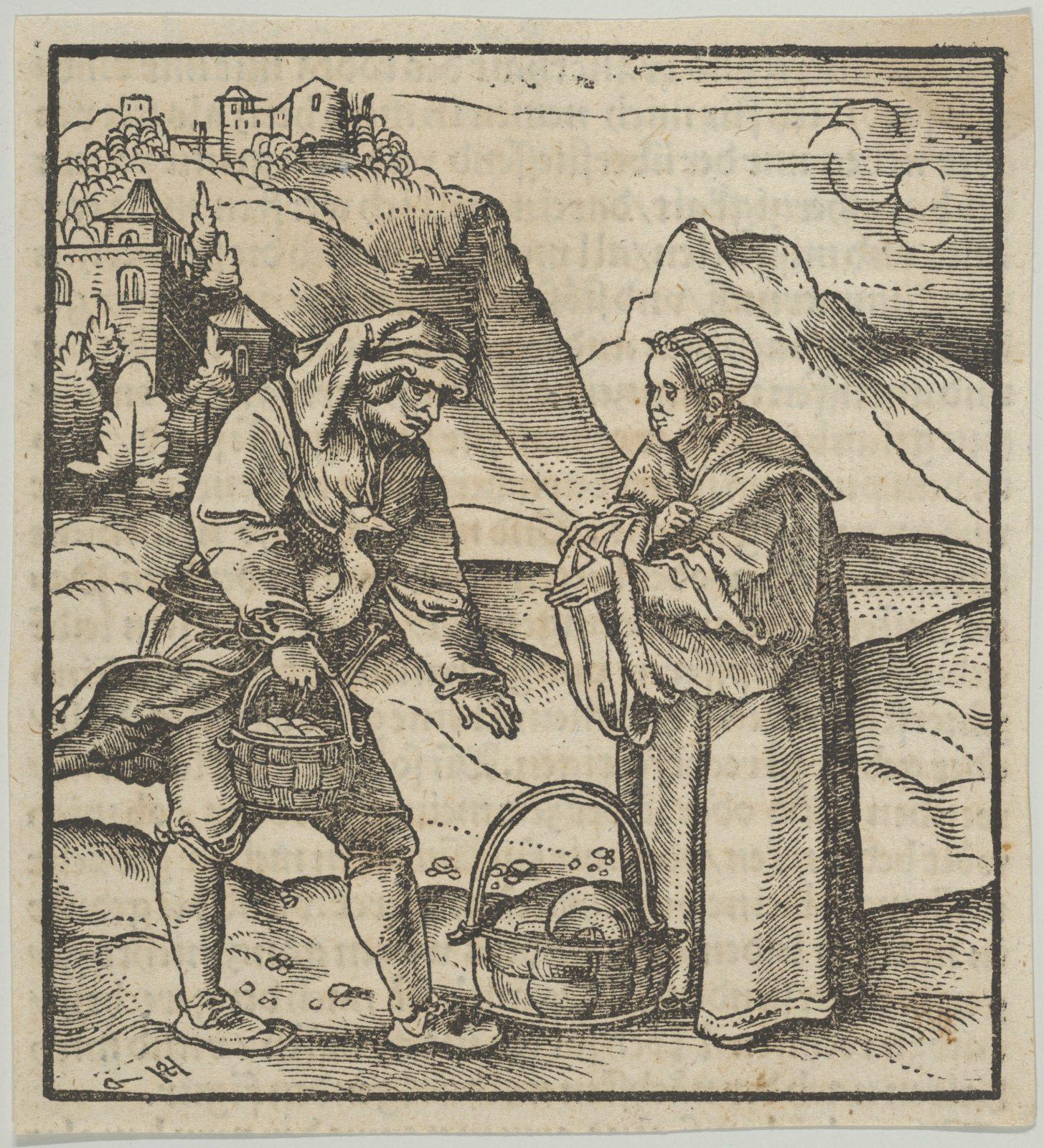 A Farmer and his Patron, from Hymmelwagen auff dem, wer wol lebt...