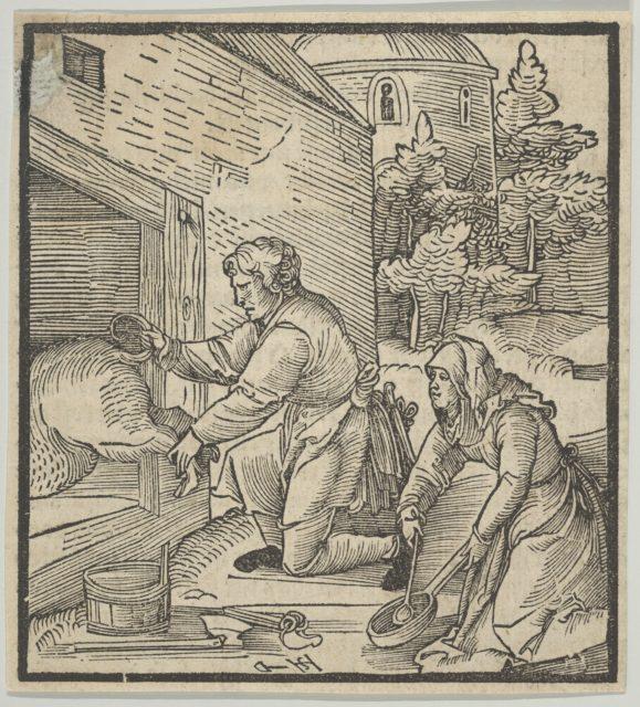 A Farmer Slaughtering a Hog, from Hymmelwagen auff dem, wer wol lebt...