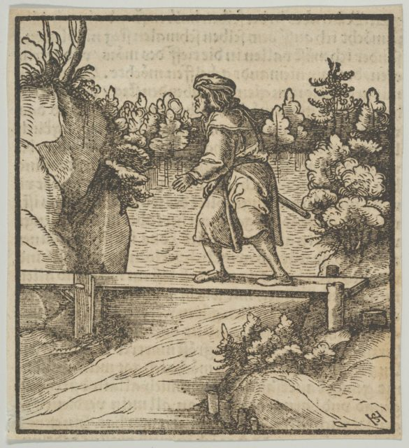 A Man Crossing a Small Bridge, from Hymmelwagen auff dem, wer wol lebt...