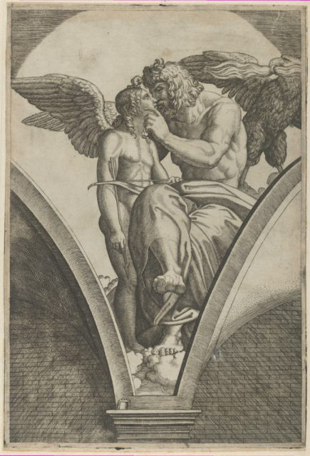 Jupiter embracing Cupid after Raphael's fresco in the Chigi Gallery of the Villa Farnesina in Rome