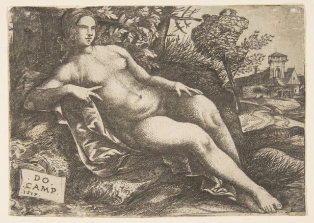 Nude woman (Venus) reclining in a landscape