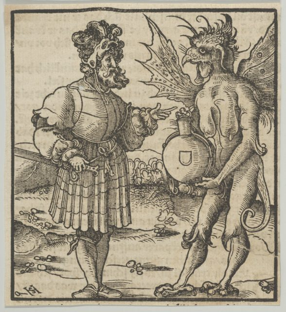 The Devil Offering Poison to a Knight, from Hymmelwagen auff dem, wer wol lebt...