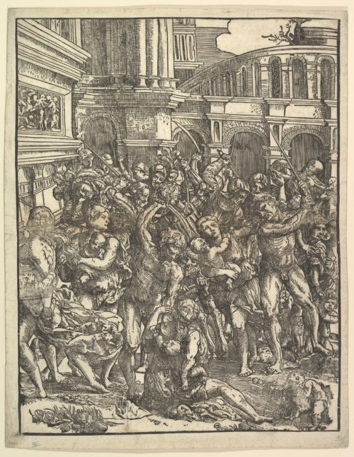 The Massacre of the Innocents (Right side) with group of male figures attacking women and children; classical buildings in the background