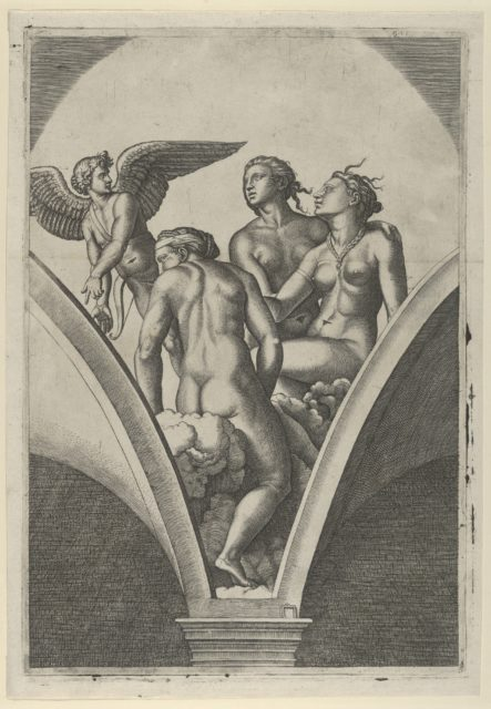 The Three Graces sitting on clouds, cupid at the left, after Raphael's fresco in the Chigi Gallery of the Villa Farnesina in Rome