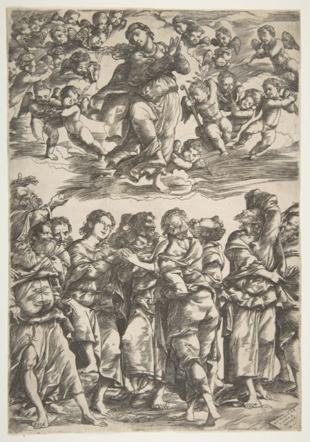 The Virgin at top center in clouds with clasped hands and right foot raised, surrounded by cherubin; below, the twelve apostles stand together gesturing upwards