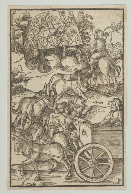 The Virtuous Man on a Chariot on his Way to Heaven, from Hymmelwagen auff dem, wer wol lebt...