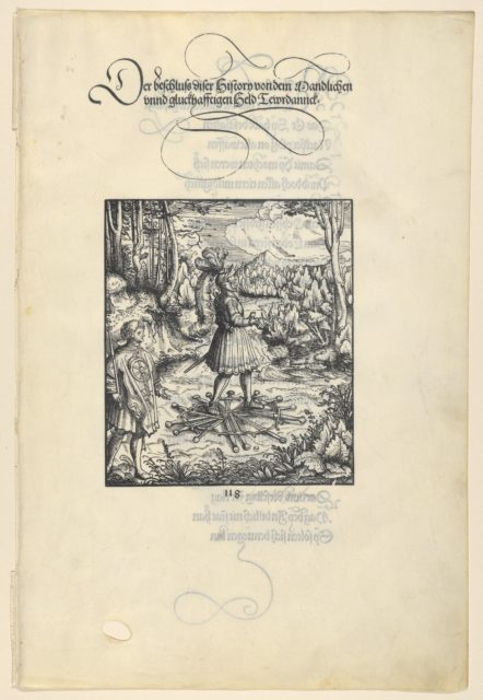 Theuerdank Walking on Swords, from [Theuerdank] Die geuerlicheiten vnd einsteils der geschichten des loblichen streytparen vnd hochberümbten helds vnd Ritters herr Tewrdannckhs
