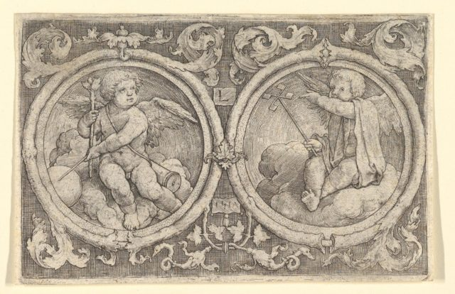 Two Putti Seated in Clouds in Circles with Tendrils