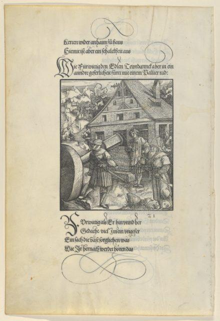 Urged by Fürwittig, Theuerdanck Tries to Manipulate a Polishing Stone, from Theuerdanck