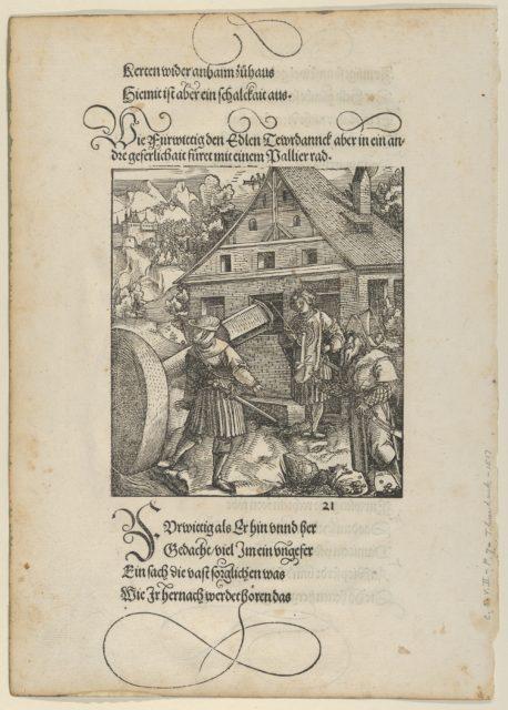 Urged by Fürwittig, Theurerdanck Tries to Manipulate a Polishing Stone, from Theurerdanck