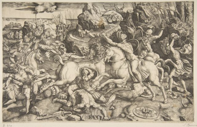 Battle scene in a landscape with soldiers on horseback and several fallen men, another group of riders in the background