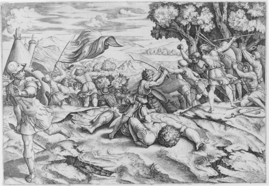 David raising sword to decapitate a fallen Goliath among battling soldiers