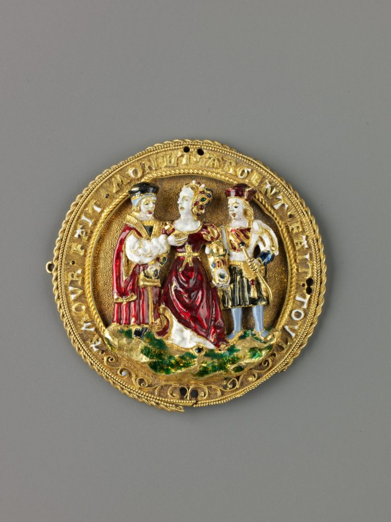 Hat Badge: Woman Choosing Between Youth and Old Age