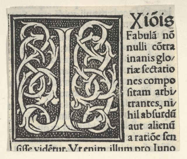 Initial letter I on patterned background