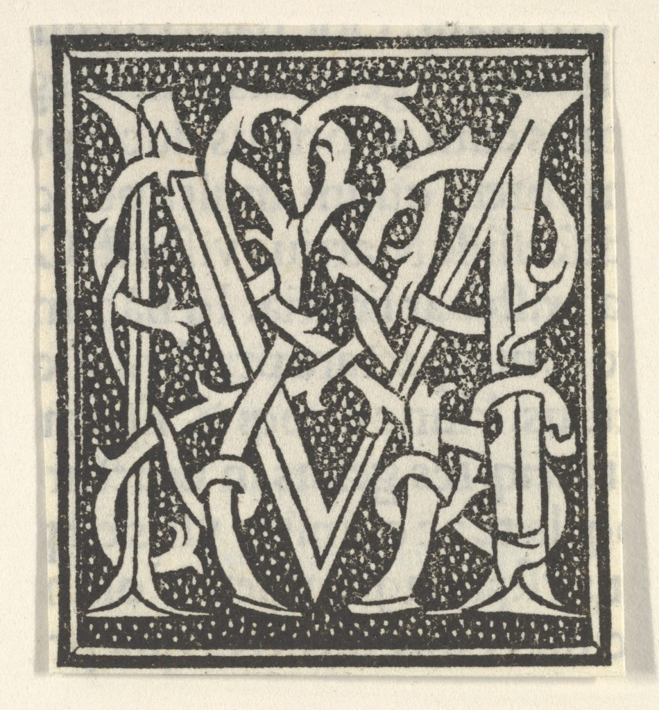 Initial letter M on patterned background
