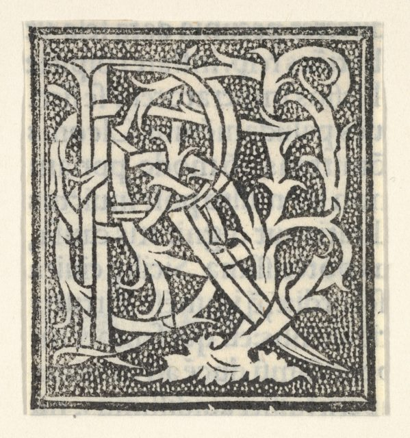 Initial letter R on patterned background