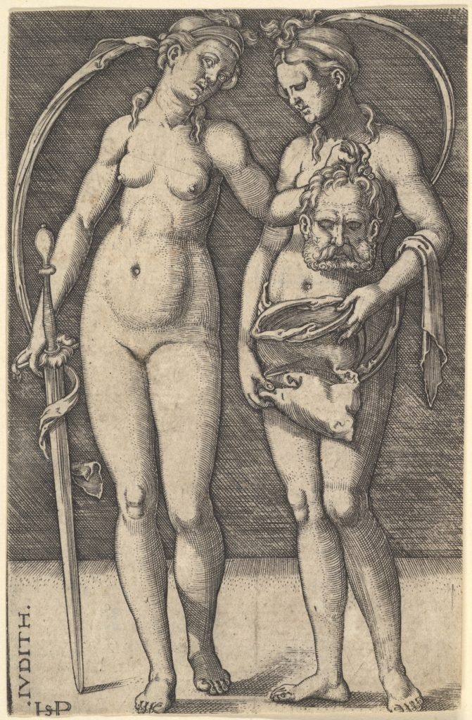 Judith standing to right and holding the head of Holofernes in her right hand and a sword in her left hand, her servant standing to right holding an open bag