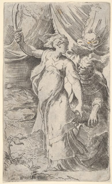 Judith with the head of Holofernes, which she places into a sack held by the figure behind her, she bears a sword in her outstretched right arm