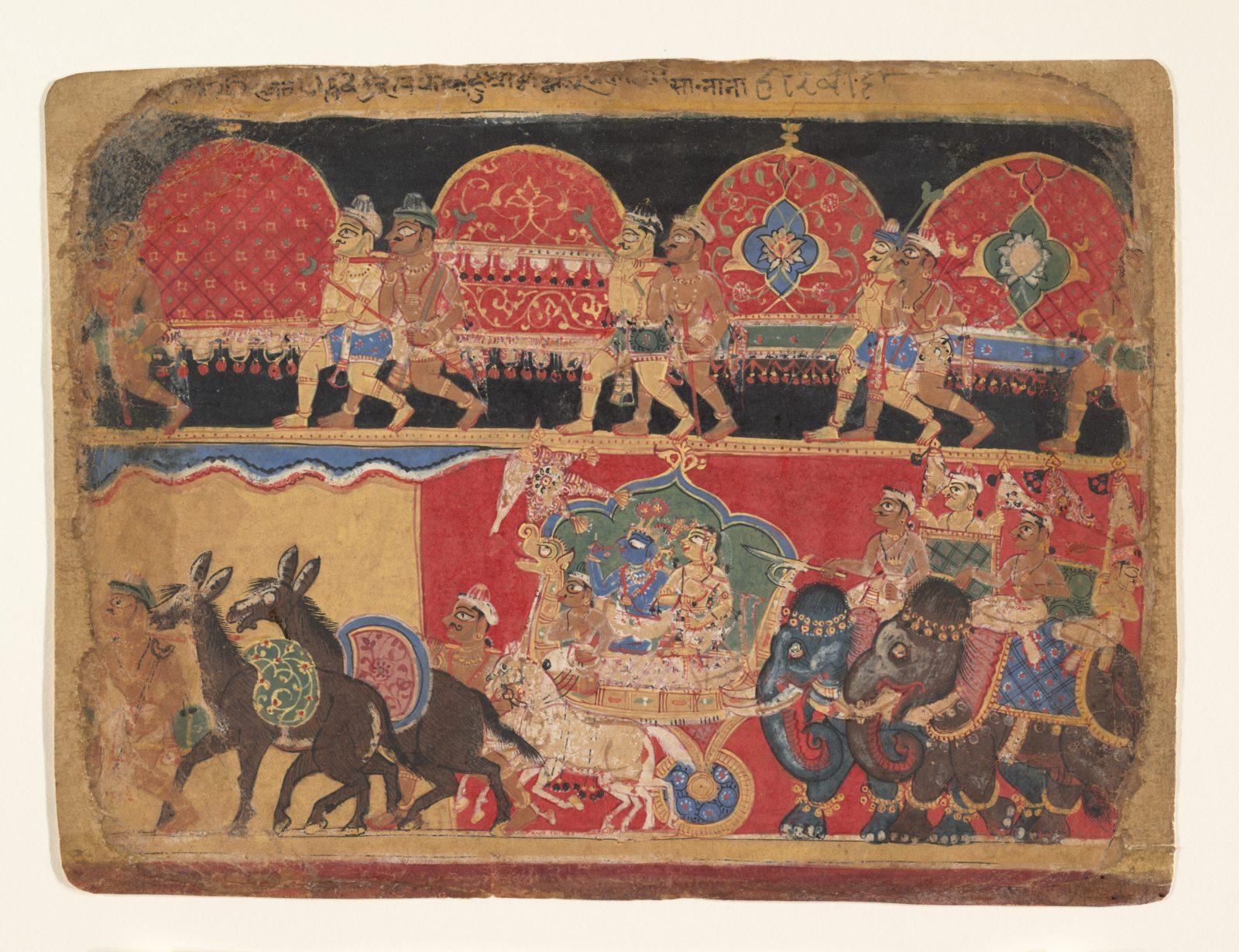 Krishna and the Kshatriya Maidens Proceed to Dvaraka: page from a