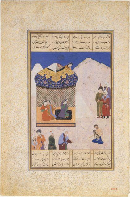 """Laila Visiting Majnun in the Desert"", Folio from a Khamsa (Quintet) of Amir Khusrau Dihlavi"