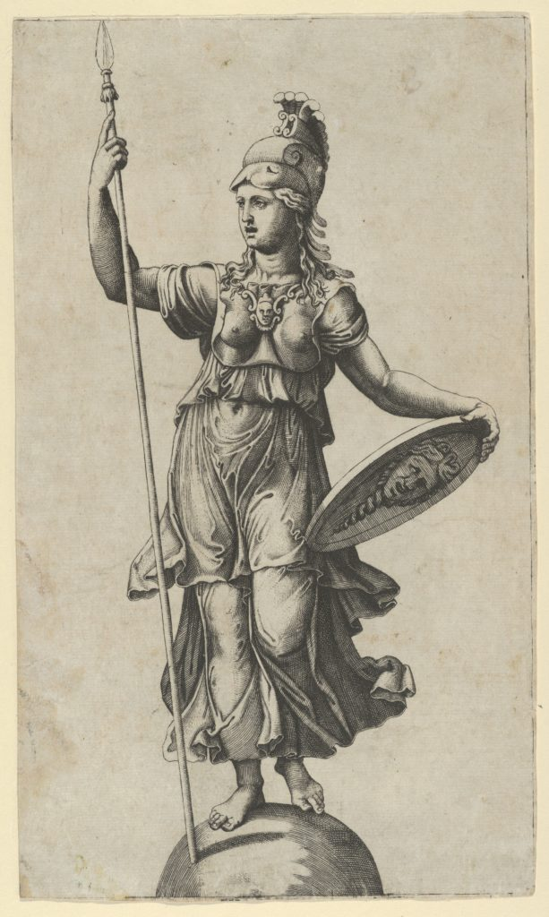 Pallas Athena standing on a globe, a spear in her left hand, a shield in her right