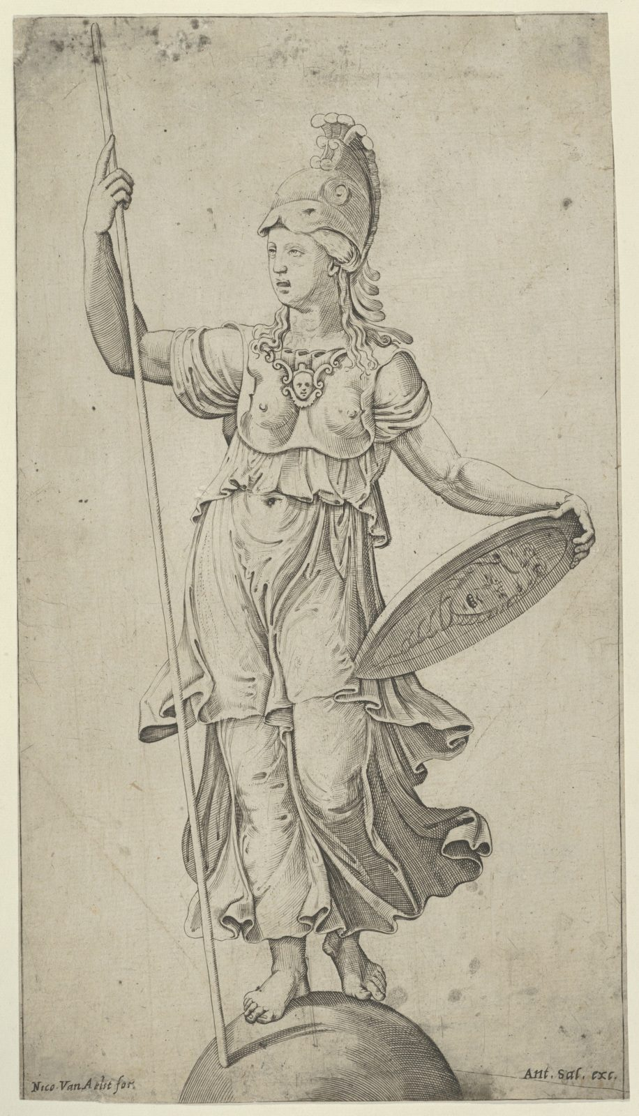 Pallas Athena standing on a globe, holding a spear in her left hand