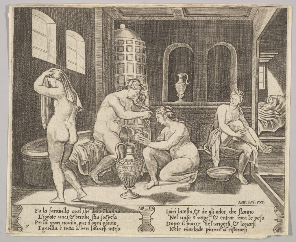 Plate 7: Psyche attended in her bath by nymphs, in the background right Psyche represented again laying in bed