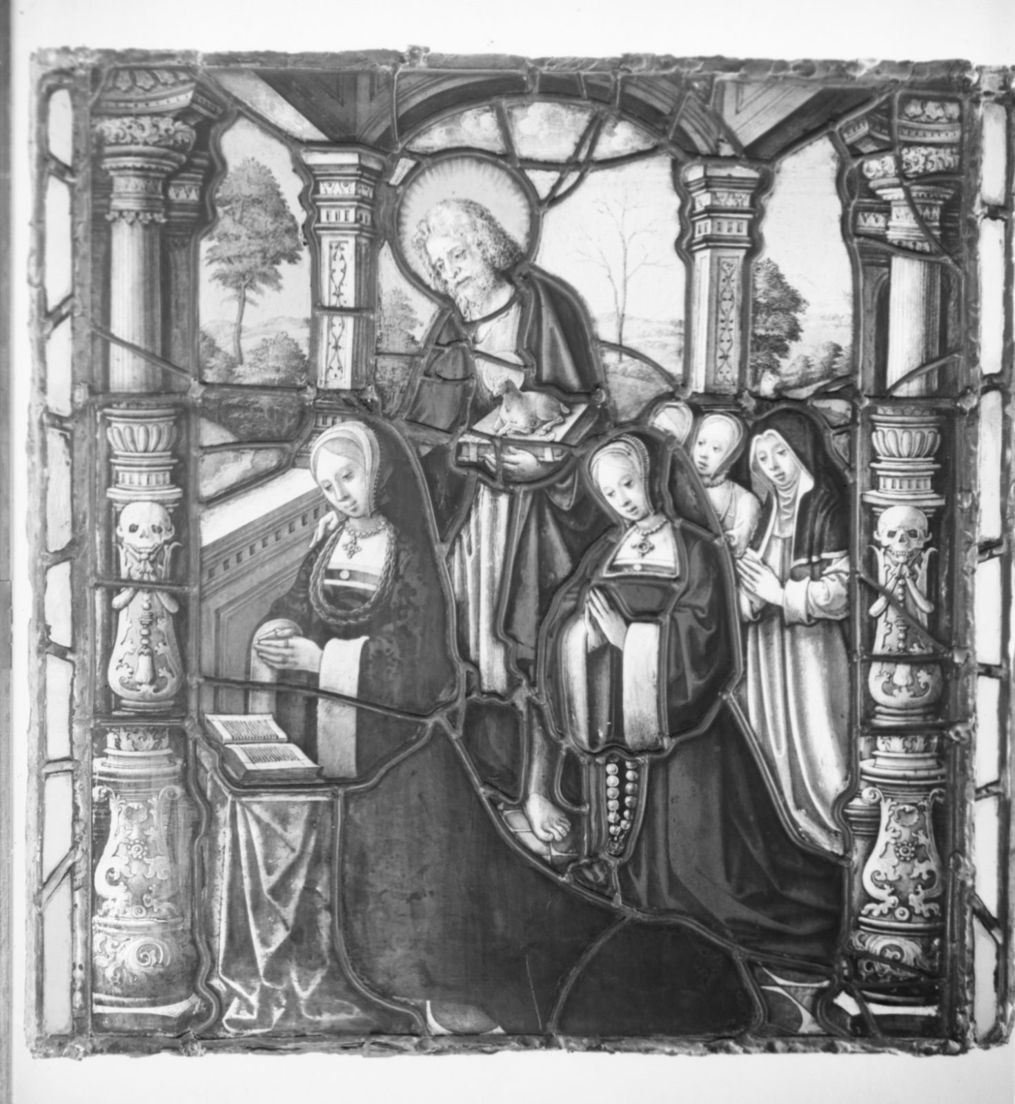 Saint John the Baptist with five kneeling women