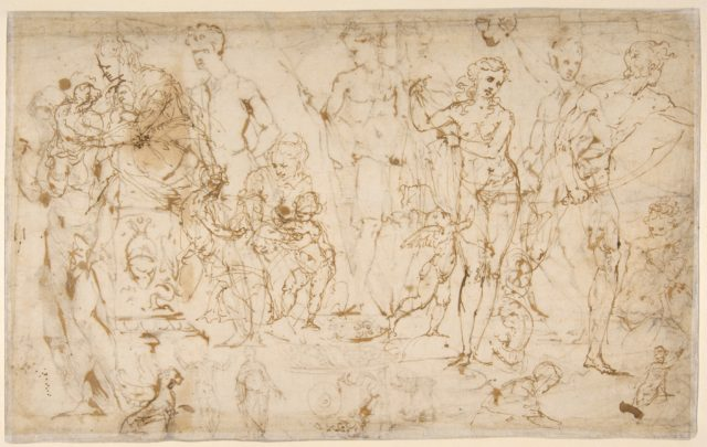 Sheet of Figure Studies and Ornamental Motifs (recto and verso).