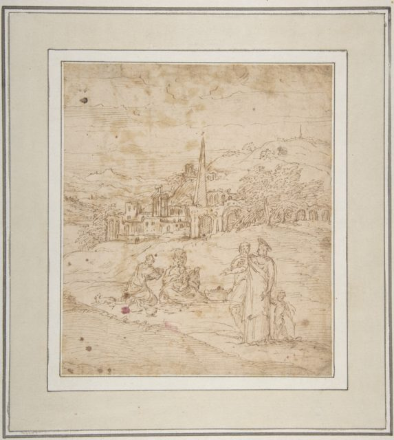Standing and Seated Figures in a Landscape with an Obelisk