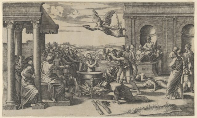 The Martydom of Saint Cecilia standing naked in a large cauldron, at left under a colonnade, sits a Roman Prefect, at right the statue of Jupiter in a niche