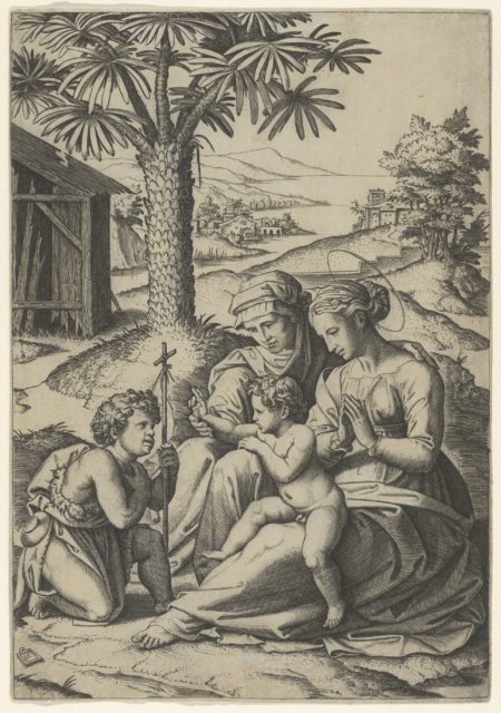 The Virgin and Child with St. Elizabeth and John the Baptist, called 'The Virgin of the Palm Tree'
