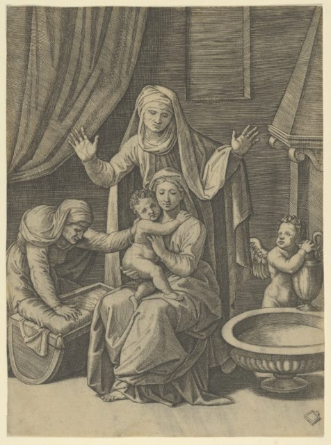 The Virgin holding the Christ Child, St Anne standing above with arms outstretched, St Elizabeth at the left