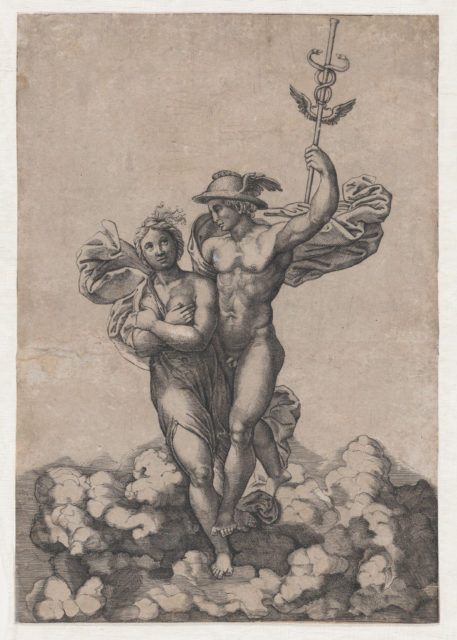Two figures on clouds, Mercury carrying Psyche to Olympus, with Mercury facing his right, after Raphael's composition in the Villa Farnesina, Rome