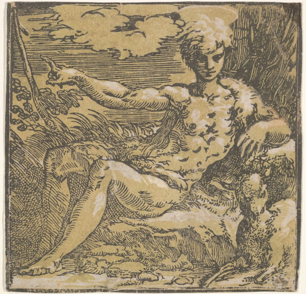 Young St. John the Baptist, seated on a rock with hairskin draped over midsection and left shoulder, pointing upward with his outstretched right arm toward a wooden cross, a lamb lying below him, chiaroscuro woodcut with two blocks
