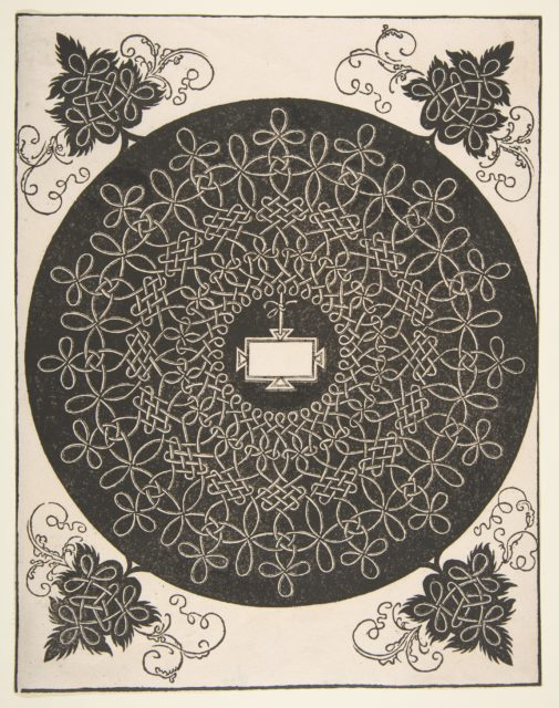 Embroidery Pattern with an Oblong Panel in its Center